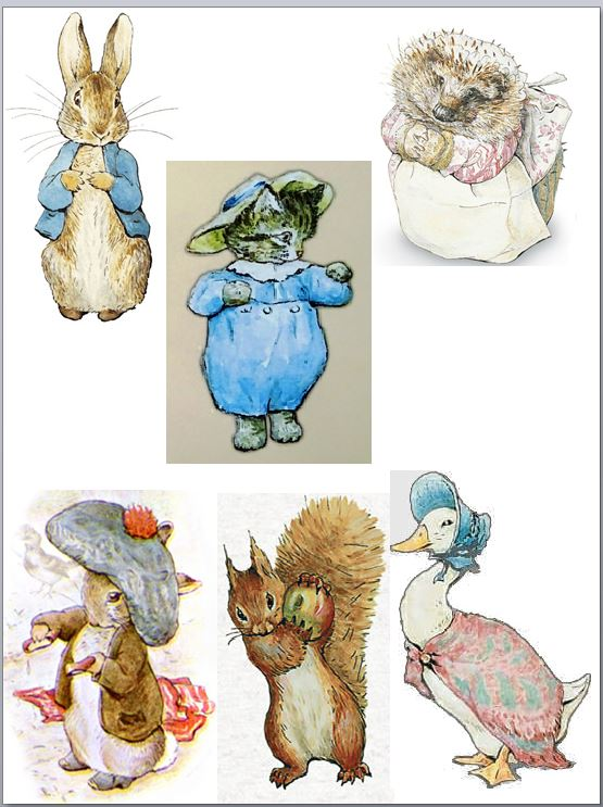 Beatrix potter characters and cupcake toppers icing or sugar sheet