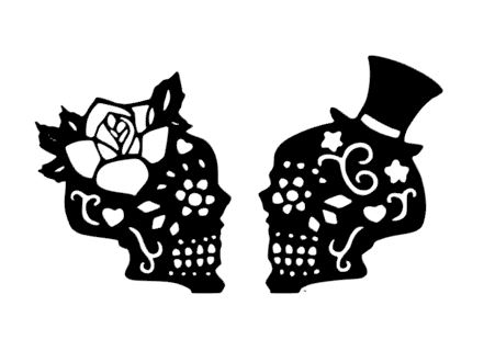 Mr & Mrs skull cake card topper