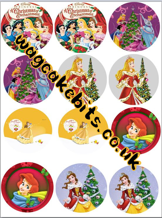 Christmas princess Cupcake Toppers X 12