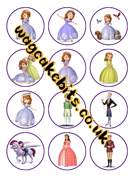 princess sofia Cupcake Toppers X 12