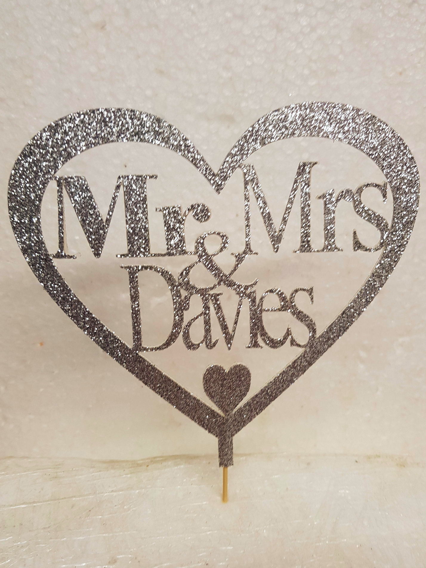 Mr & Mrs any name love heart cake card topper