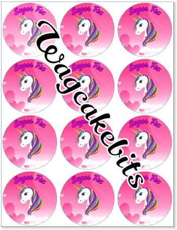 Unicorn with name x 12 cupcake toppers