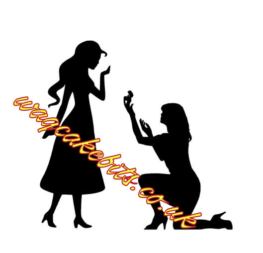 Girl proposing to a girl cake topper