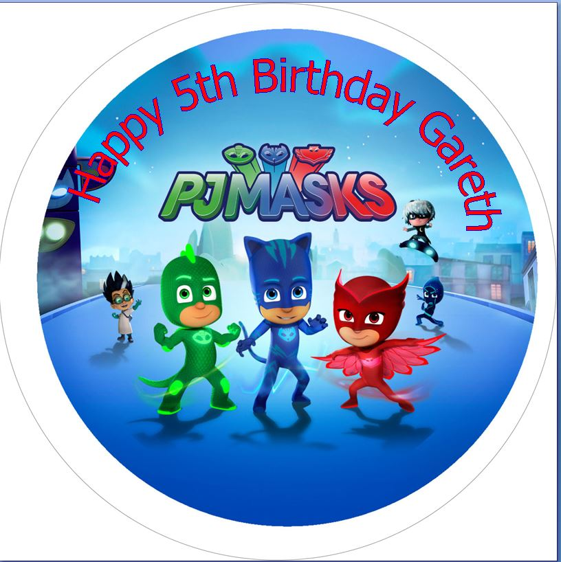 PJ Masks with name Cake topper