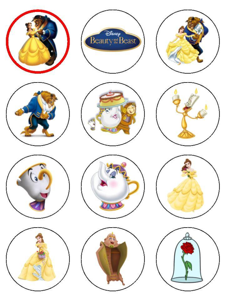 12 x beauty and the beast edible cup cake toppers