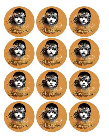 Les miserables cupcake toppers
