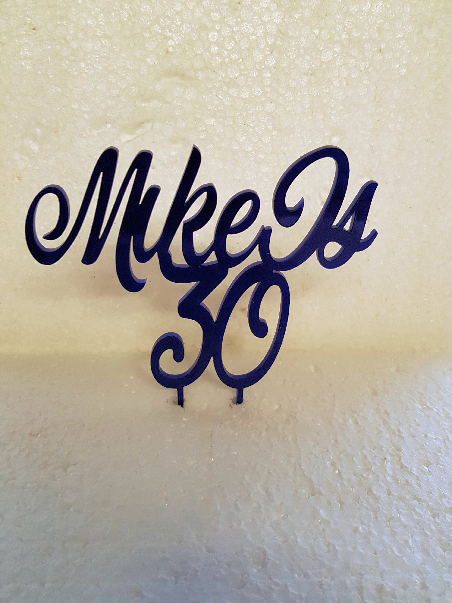 Name is then age acrylic cake topper Requited Script