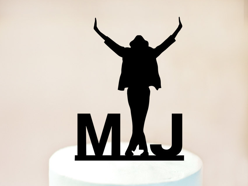 Michael Jackson with initials acrylic cake topper
