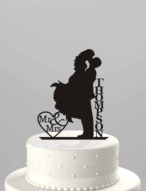 Mr & Mrs with last name acrylic cake topper