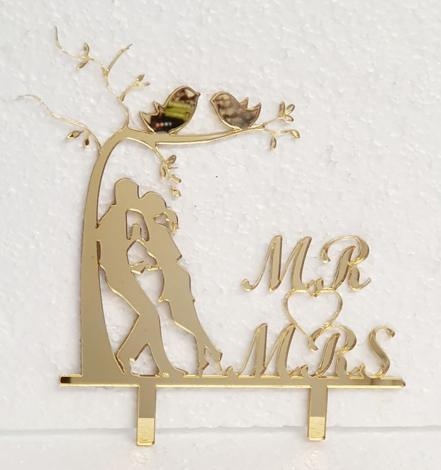 Mr & Mrs by a tree acrylic cake topper