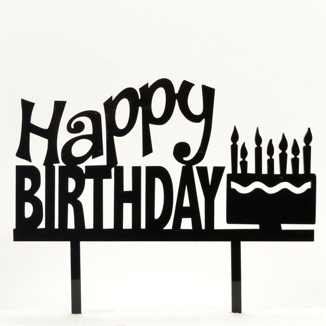 Happy birthday with cake and candles acrylic cake topper
