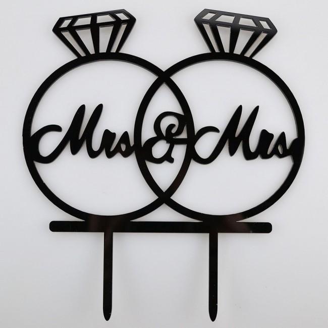 Mr & Mrs rings acrylic cake topper
