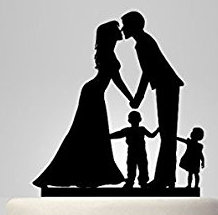 Mr & Mrs with girl and boy acrylic cake topper