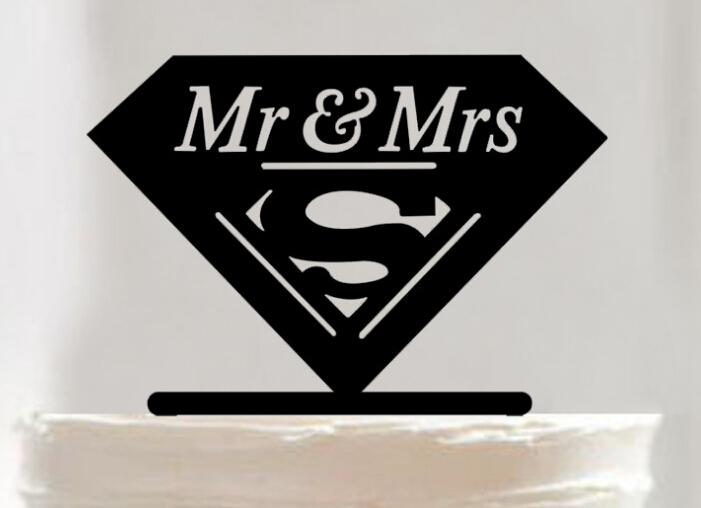 Super Mr & Mrs acrylic cake topper