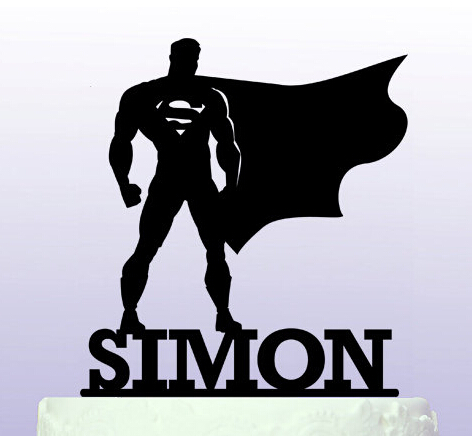 Super hero with name acrylic cake topper