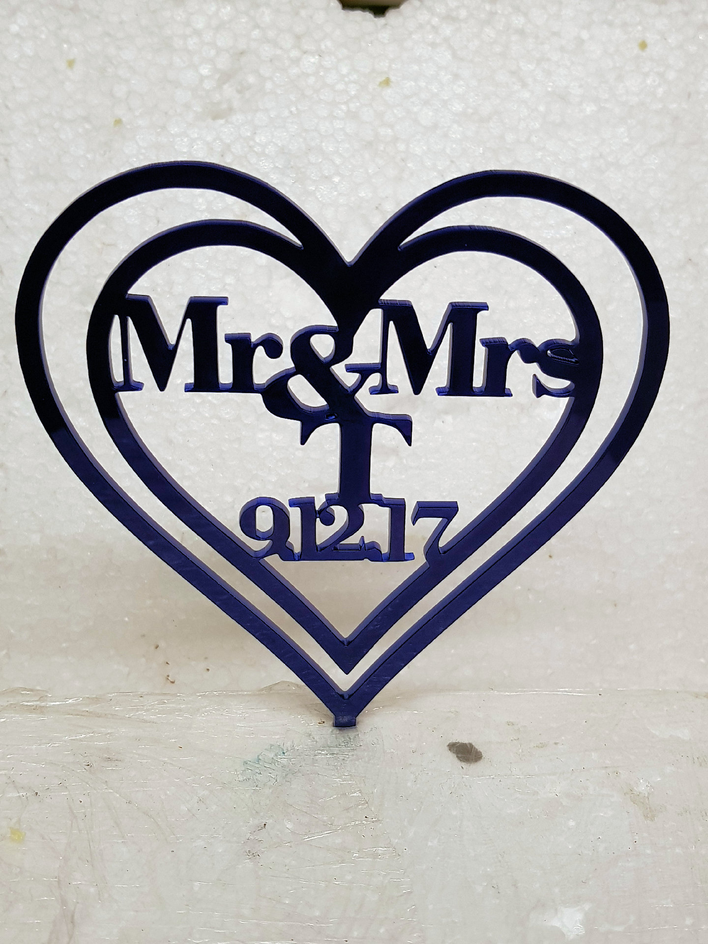 Mr & Mrs with wording and date acrylic cake topper
