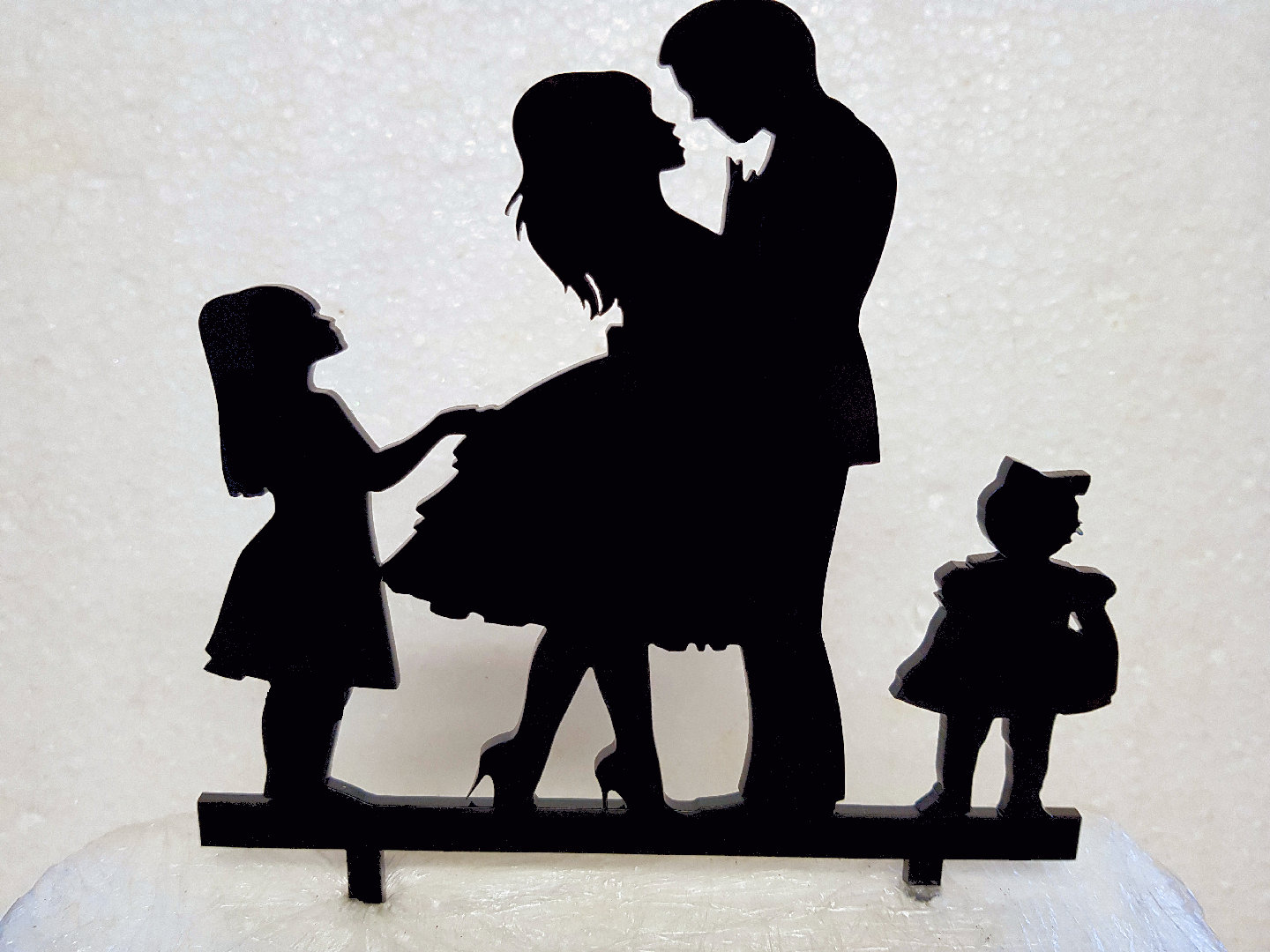 Mr & Mrs with 2 girls acrylic cake topper