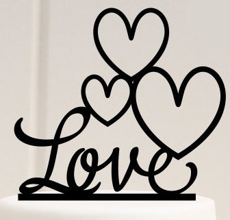 Love with hearts acrylic cake topper
