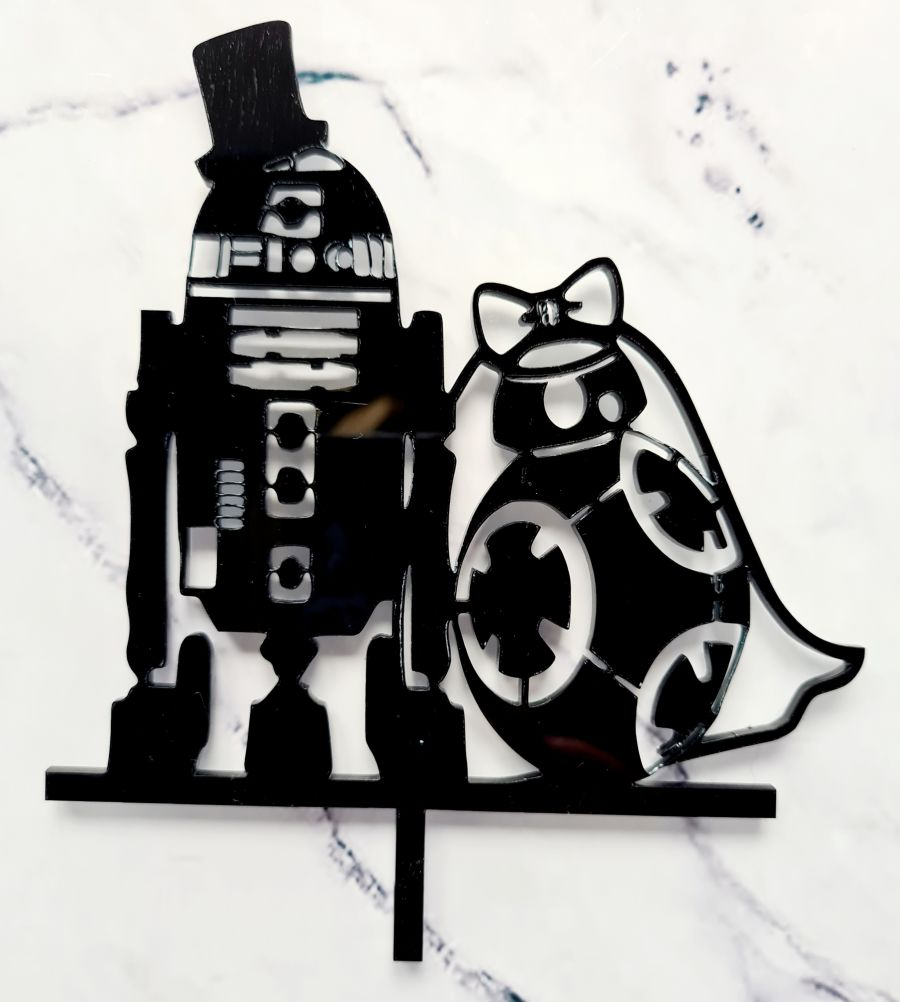 Star Wars R2D2 & Bb8 acrylic cake topper