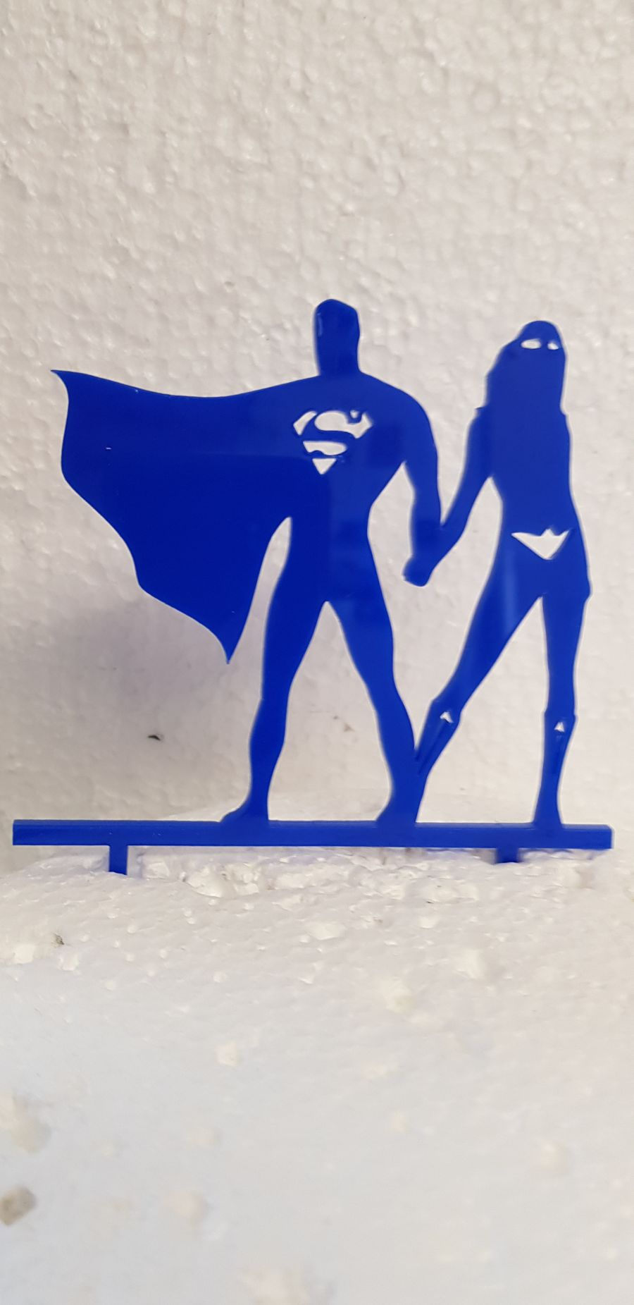 Superman and Wonder woman acrylic cake topper