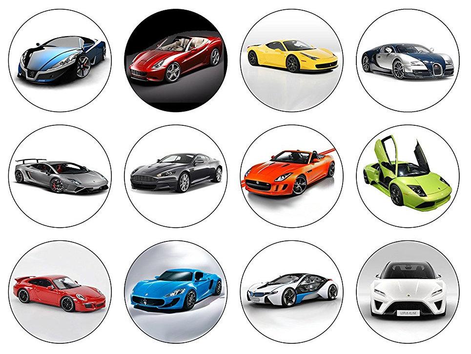 Super car Fast Car Cupcake Toppers X 12