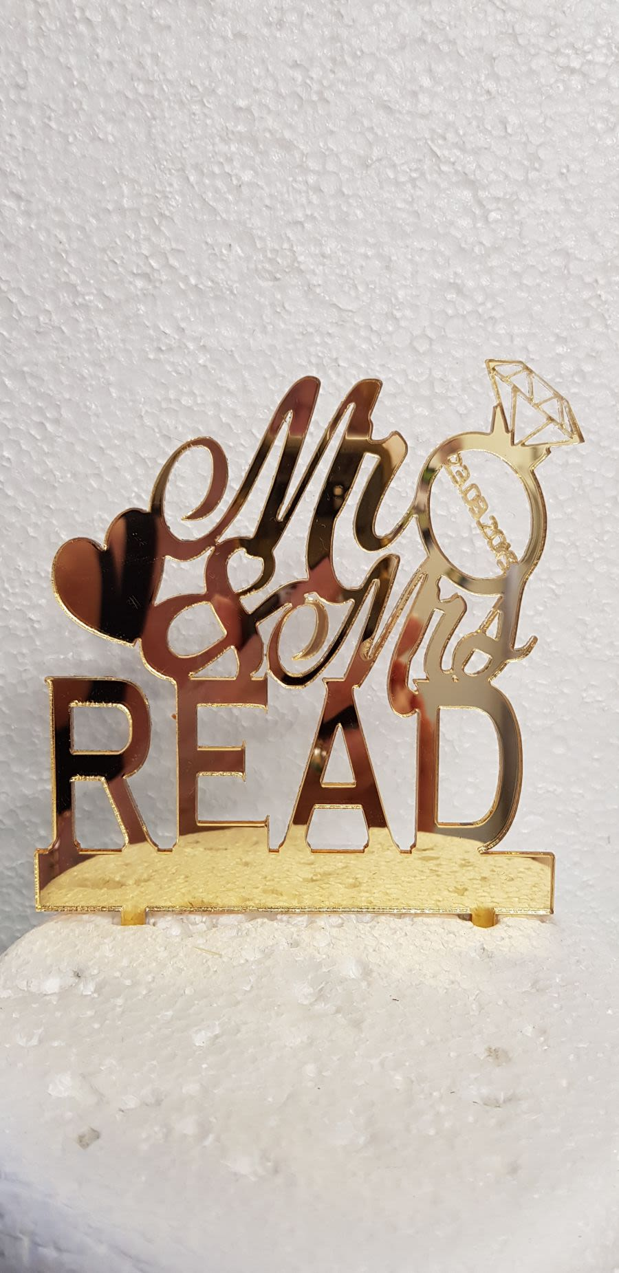 Mr & Mrs with ring and date acrylic cake topper