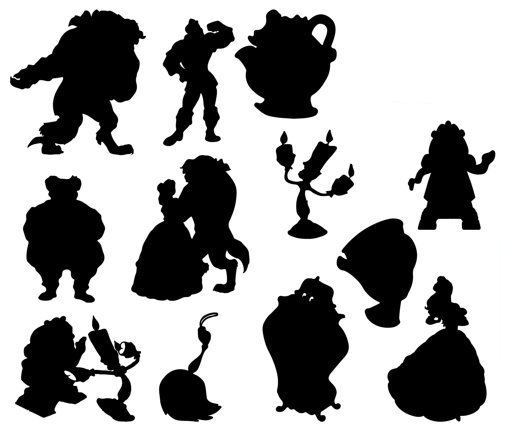 Beauty and the beast charioteers silhouettes cut outs
