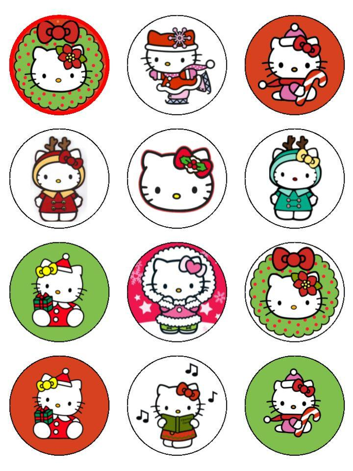 Hello Kitty Christmas Cupcake Toppers X 12