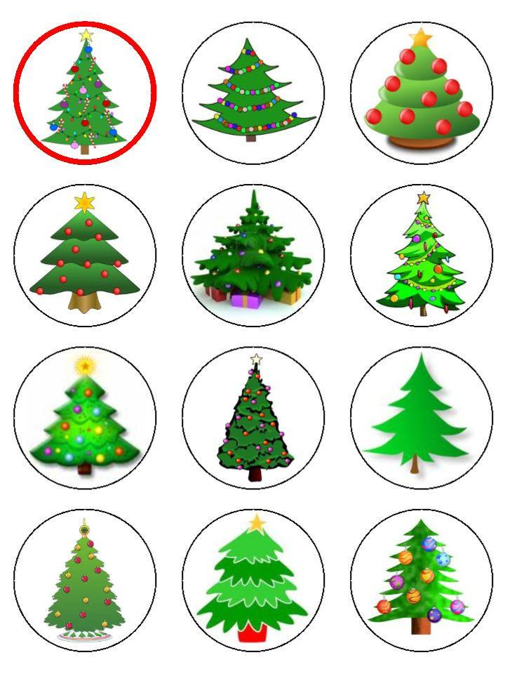 Christmas trees Cupcake Toppers X 12