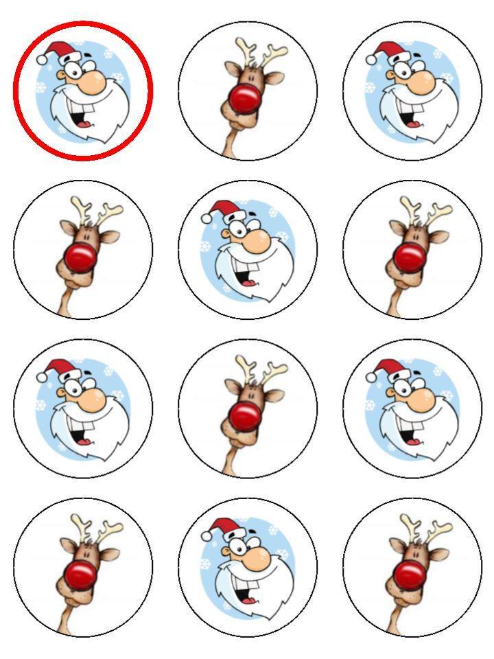 Santa and Rudolph Christmas topper