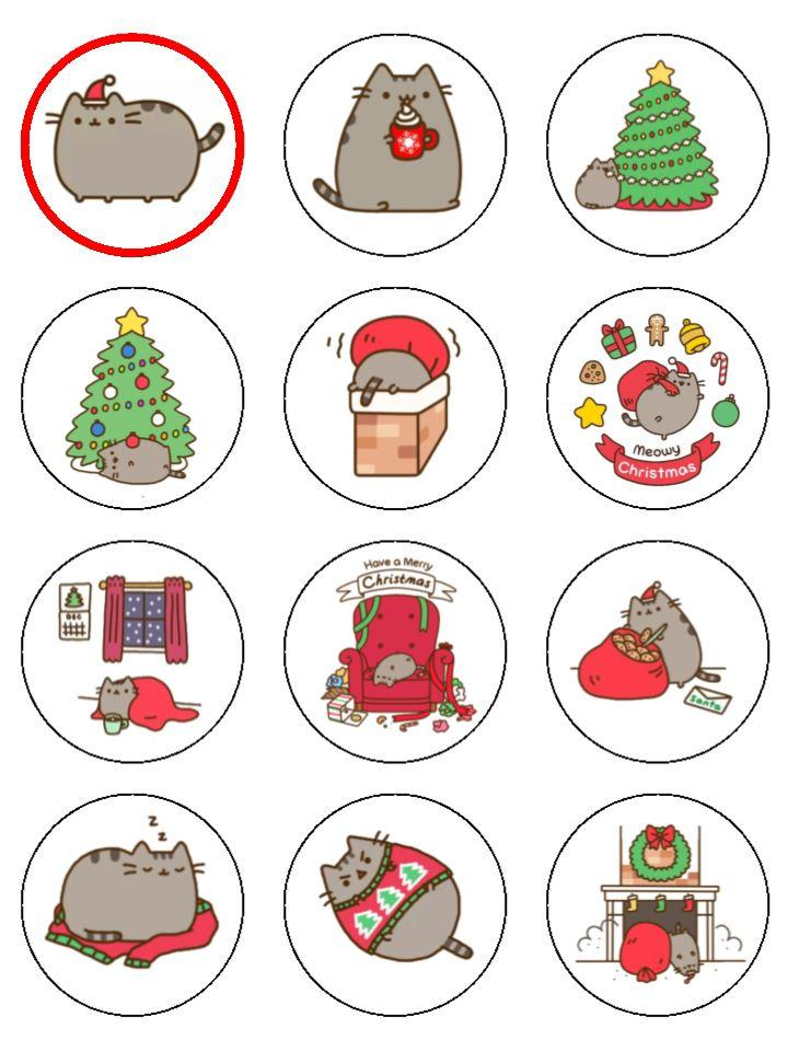 Christmas Pusheen a Christmas Cupcake Toppers X 12