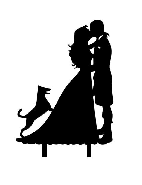 Mr & Mrs with little dog jumping up Acrylic topper