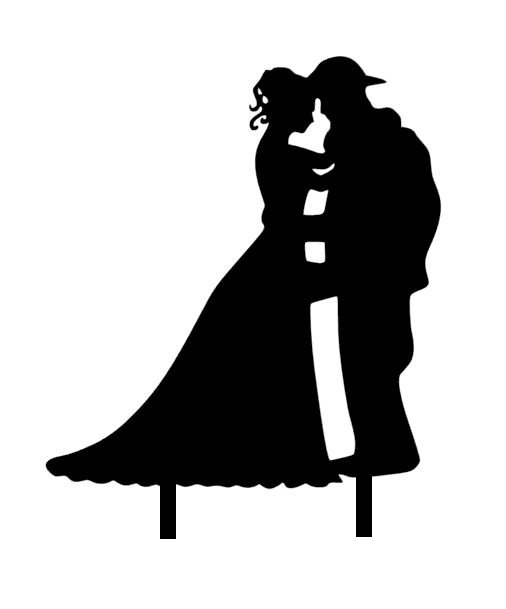 Fireman Groom And Bride Silhouette Acrylic Topper