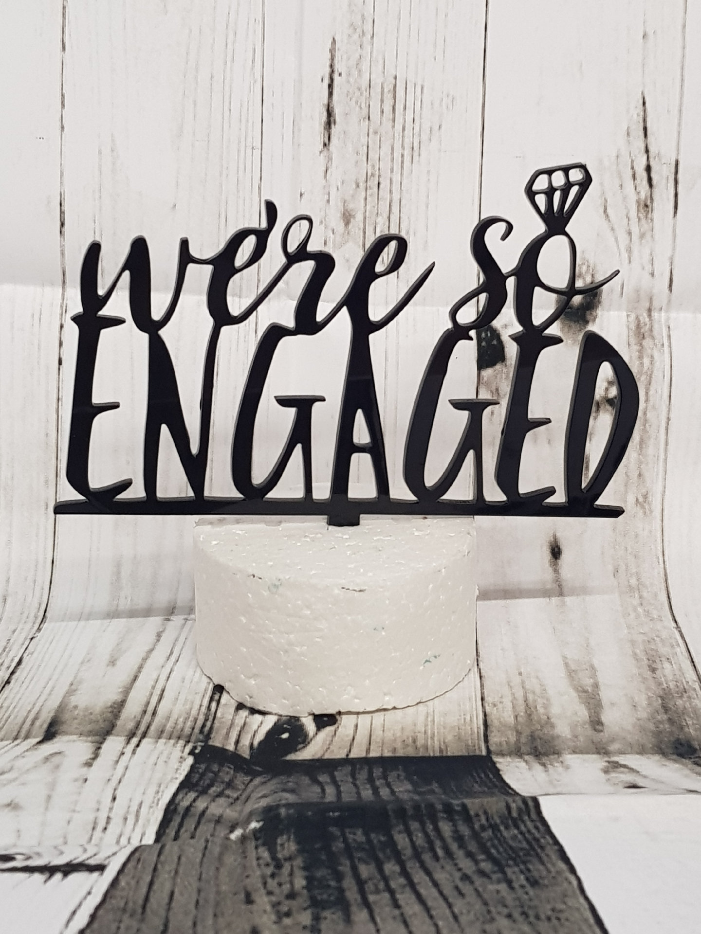 Were so engaged with ring acrylic cake topper