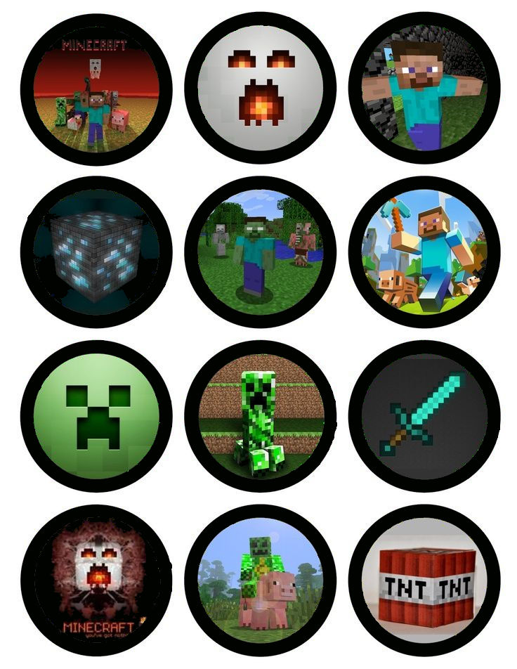 Minecraft Cupcake Toppers X 12