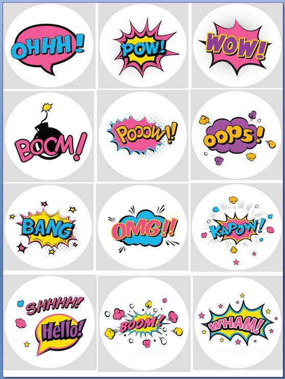 Pink Pow,Zap, spiderman, batman, wonder woman Cupcake Toppers X 12