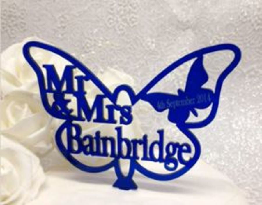 Mr & Mrs and date Butterfly acrylic cake topper