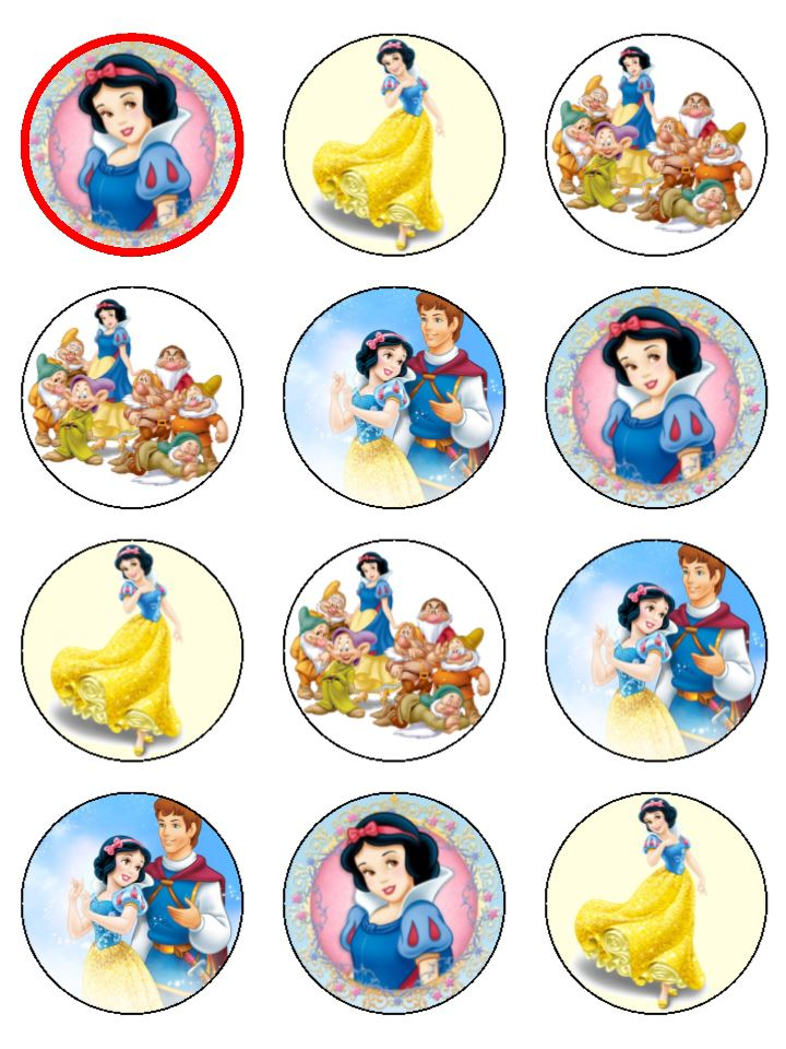 Snow White Cupcake Toppers X 12