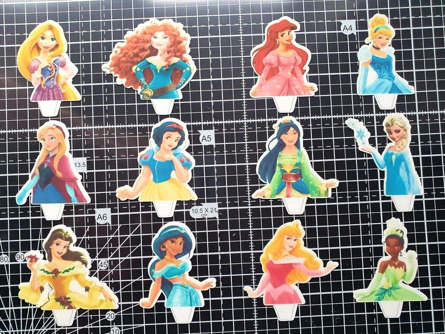 princess cupcake toppers icing or sugar sheet