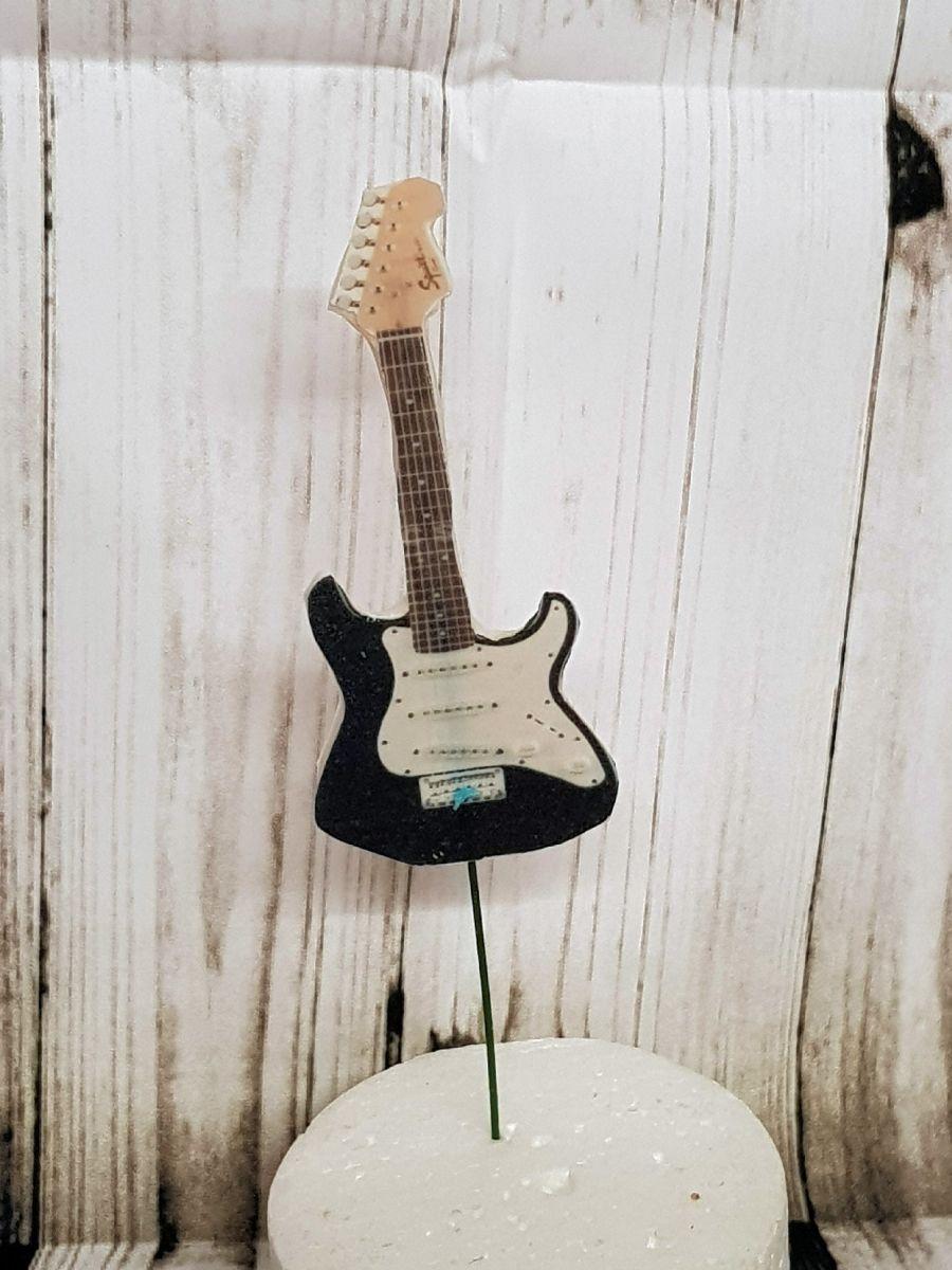 Gumpaste Guitar stand up guitar with stick