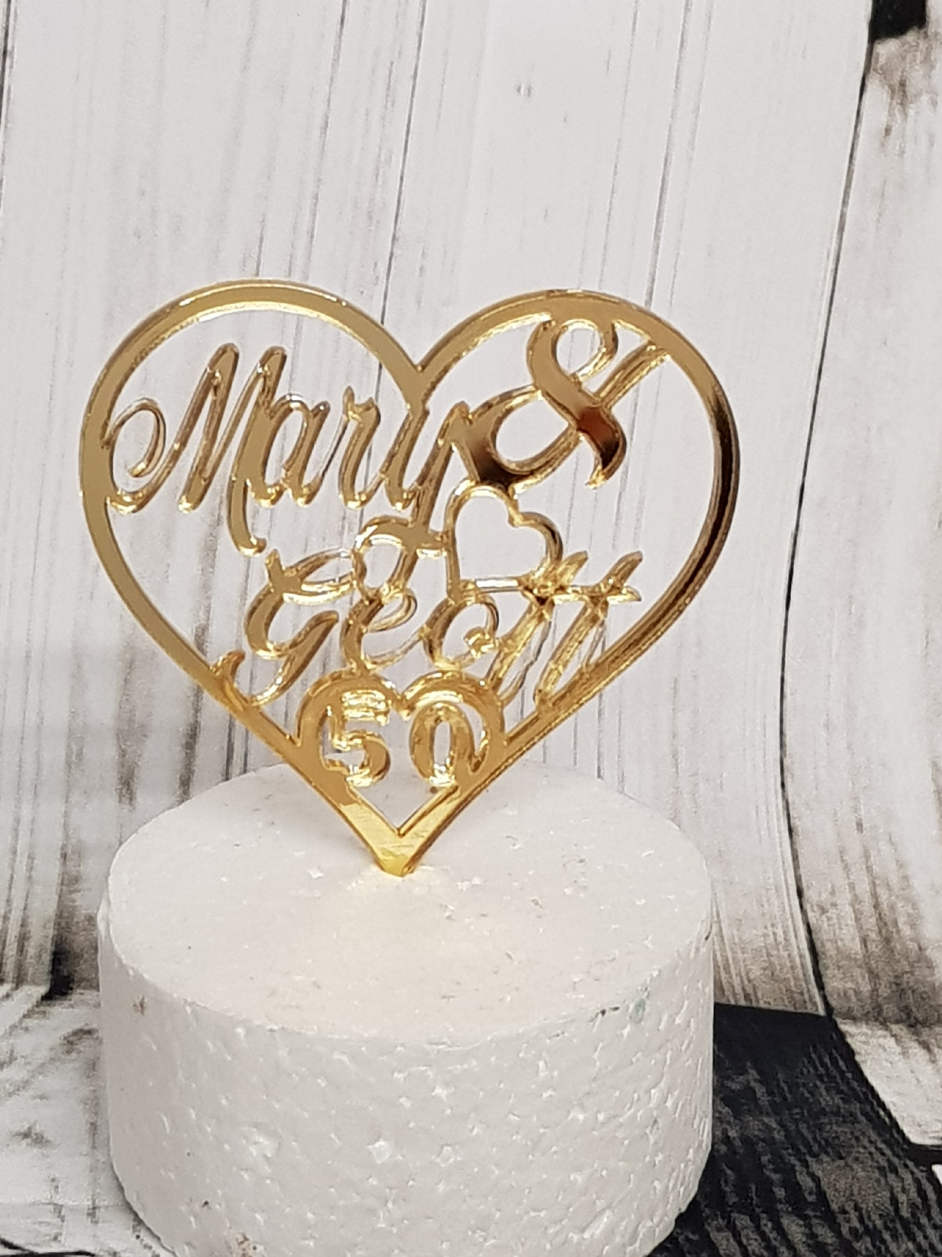 Name & Name & Number heart acrylic cake topper