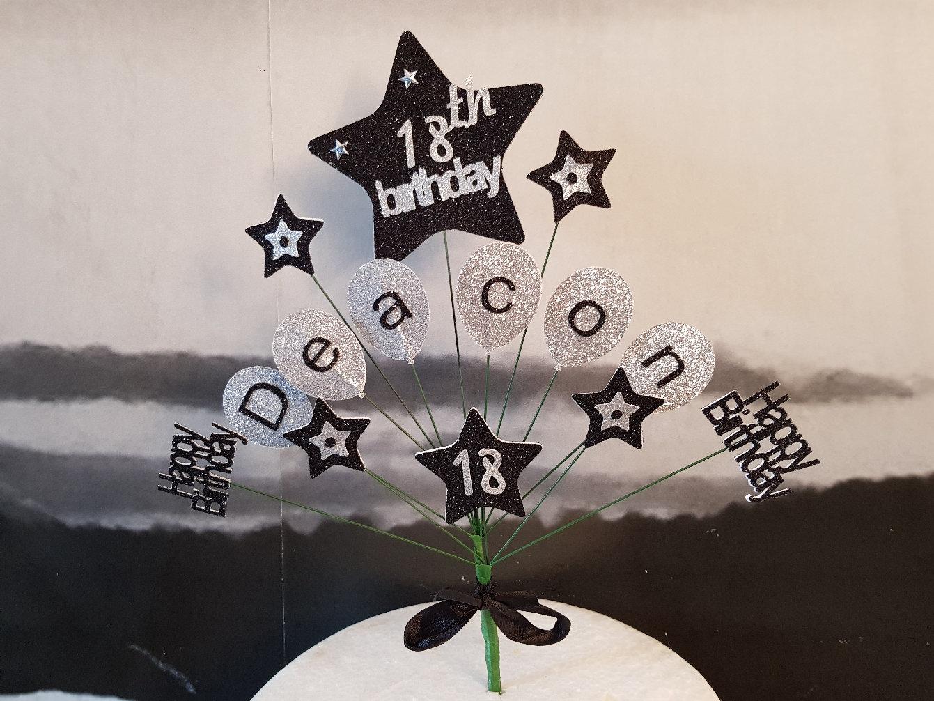 Balloons stars named topper cake topper