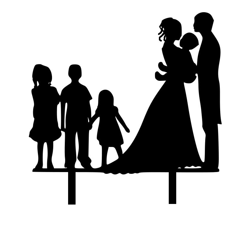 Mr & Mrs with 4 Children acrylic cake topper