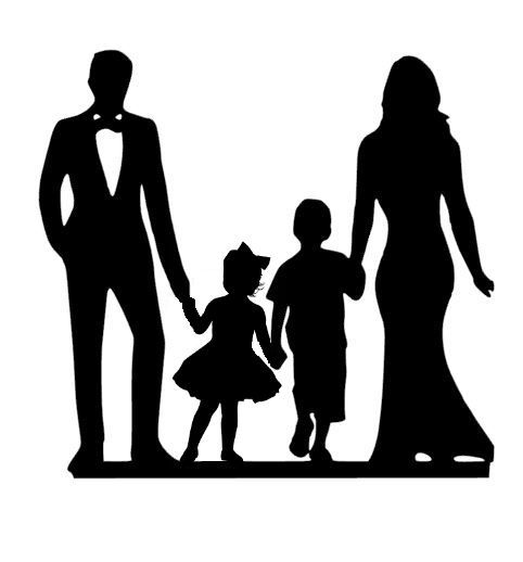 Mr & Mrs with older boy & young girl acrylic cake topper