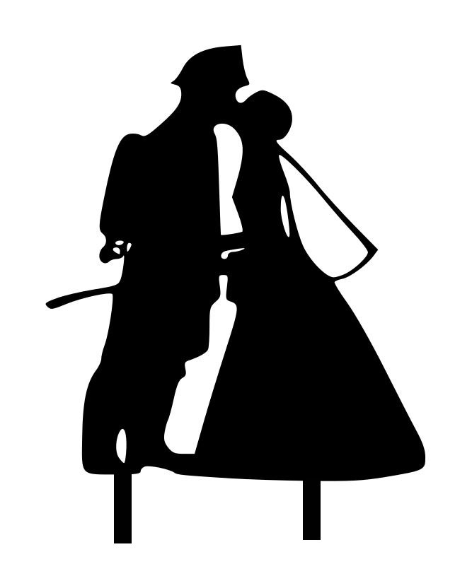 Fire fighter groom and bride silhouette Acrylic topper