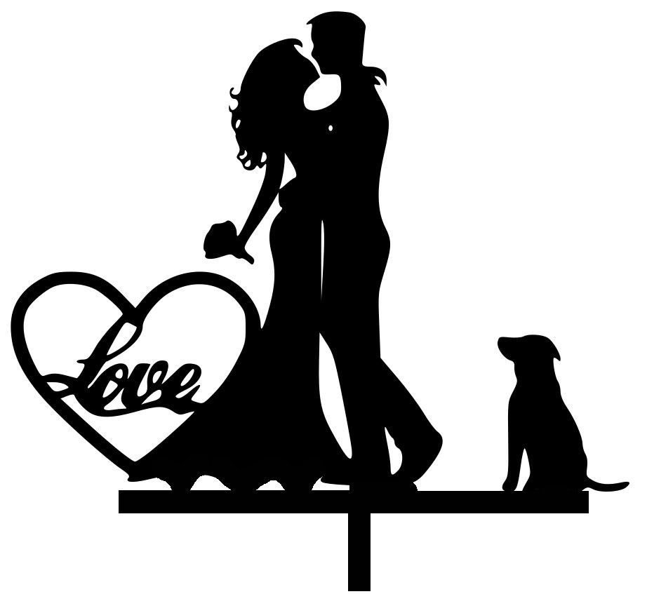 Mr & Mrs with golden lab dog acrylic cake topper