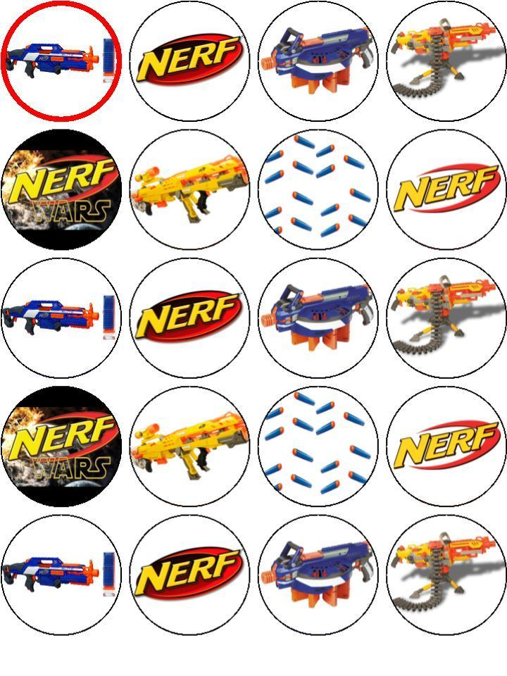 Nerf Cupcake Toppers X 20