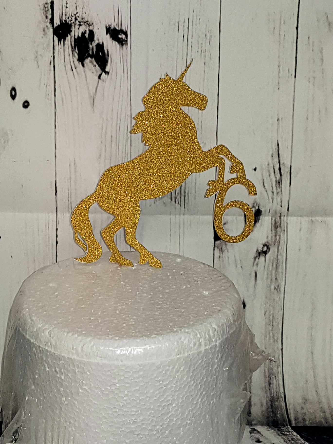 Unicorn with age cake card topper