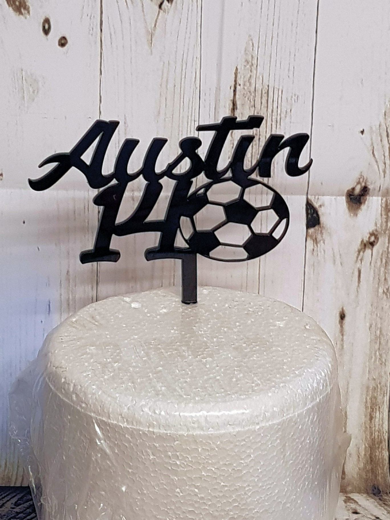 Name & Age with a ball acrylic cake topper