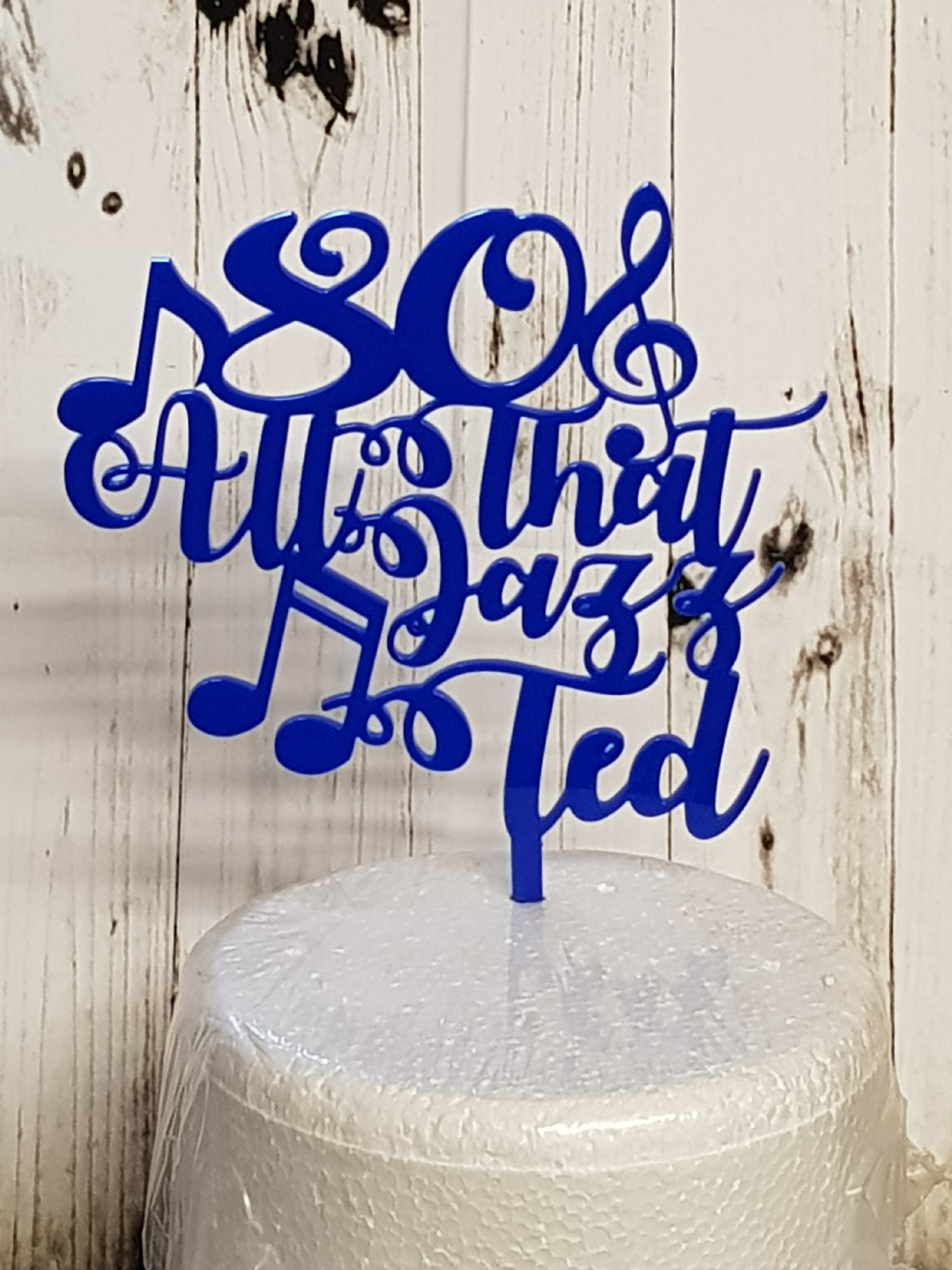age then all that jazz and name acrylic cake topper